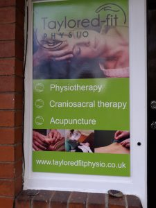 tayloredfitphysio working from home signage